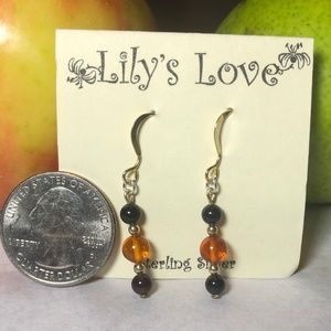 Onyx and Amber Earrings